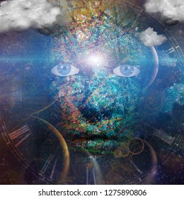 Face of the Universe made of letters with clouds. 3D rendering
