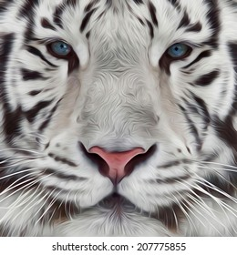 Face of white bengal tiger. Mask of the biggest cat of world. Wild beauty of the most dangerous and mighty beast. Amazing illustration in oil painting style. Great for user pic, icon, label, tattoo.