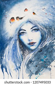 Face of young woman depicting a winter. Bullfinches in background.  Picture created with watercolors.