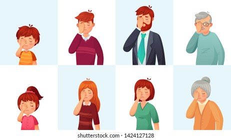 Facepalm gesture. Disappointed people embarrassed faces, hide face behind palm and shame gestures. Sad stressed faces, worry disappointed facepalm expression cartoon  illustration set