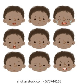 Faces Boy Feelings Set Illustrations