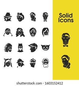Faces icons set with indian man, batman and old man elements. Set of faces icons and grandfather concept. Editable elements for logo app UI design.
