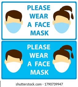 faces with mask - leaflets request man and woman wear mask