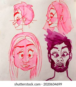 Faces in sketchy style in a sketchbook, brushpen