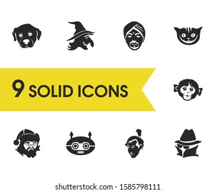 Facial icons set with puppy, spy and indian man elements. Set of facial icons and pet concept. Editable elements for logo app UI design.