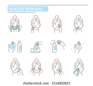 Facial make up removal concept. Line style illustration isolated on white background.