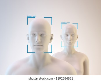 Facial recognition software with aritificial intelligence - 3D illustration