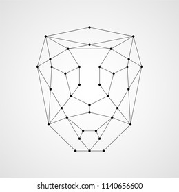 Facial recognition system concept. Illustration of human face consisting of polygons