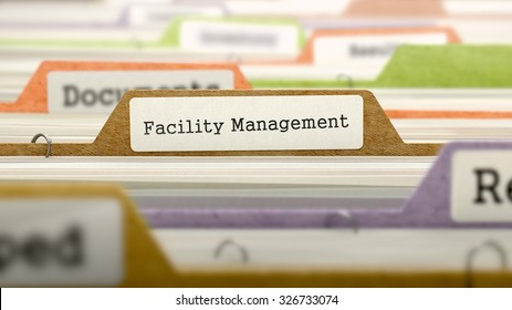 Facility Management Concept. Colored Document Folders Sorted for Catalog. Closeup View. Selective Focus.