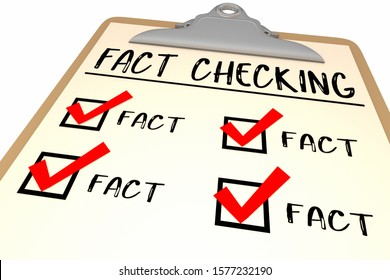 Fact Checking Checklist Clipboard Words 3d Illustration