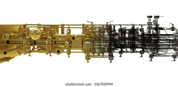 Factory Equipment, industrial machinery, 3d illustration, BIM