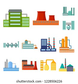Factory and facilities cartoon icons in set collection for design. Factory and equipment bitmap symbol stock web illustration.