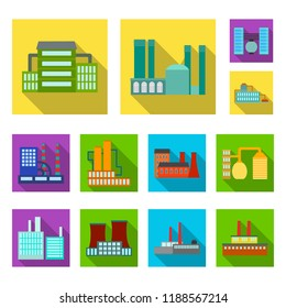 Factory and facilities flat icons in set collection for design. Factory and equipment bitmap symbol stock web illustration.