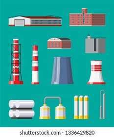 Factory icon set. Industrial factory, power plant. Pipes, buildings, warehouse, storage tank. illustration in flat style