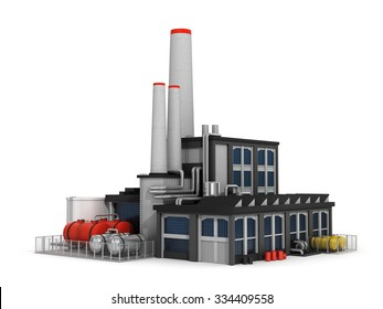 Factory isolated on white background. Computer render.