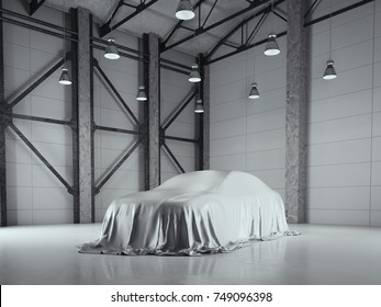 Factory loft hangar with photo studio and covered with cloth car. 3d rendering