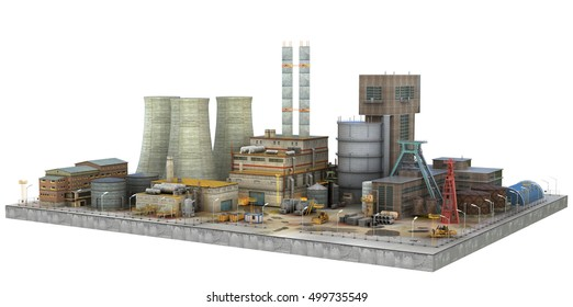 Factory on white background. Industry. 3d illustration