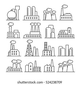 Factory and plant thin line icons. Industrial building for production and manufacture illustration