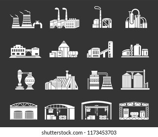 Factory and production buildings set white isolated on grey background