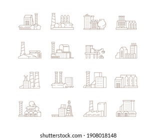 Factory symbols. Industrial city smoke pipe energy production buildings steam clouds icon set
