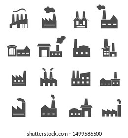 factory and warehouse icons set illustration