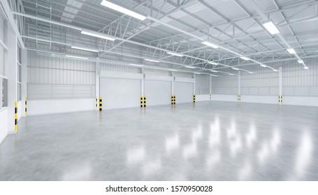3D-Rendering von Verschlusstür und Beton-Boden im Innenhof Lagergebäude für industriellen Hintergrund.
