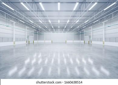 3D-Darstellung von leeren Lagern und Verschlusstüren und Betonboden für industriellen Hintergrund.