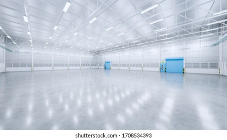 Factory or warehouse or industrial building. Protection with roller door or roller shutter. Modern interior design with concrete floor, metal wall and empty space for industry background. 3d render.