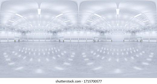 3D-Darstellung des Panoramas von leeren Lager und Beton Boden und Verschlusstür, sauber und neu.