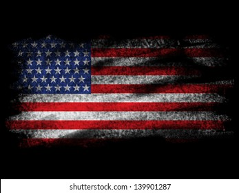 Fade American Flag on Black Blackground