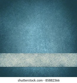 faded blue background or blue paper with frosty white parchment ribbon for website design on bottom border, with old vintage grunge texture and copy space
