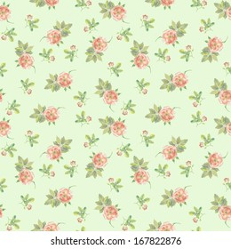 Faded green seamless floral pattern with tiny roses