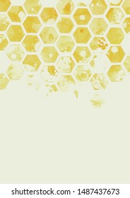 Fading honeycomb structure pattern in watercolor