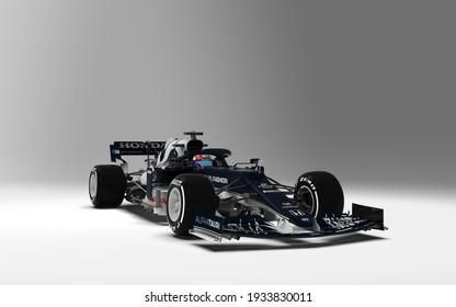 Faenza, Italy - Februari 19, 2021: Alpha Tauri Launch the car for Season 2021 - (3D Illustration)