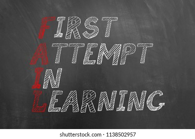 Fail first attempt in learning text on blackboard or chalkboard as move forward employee mistake lesson business motivation concept