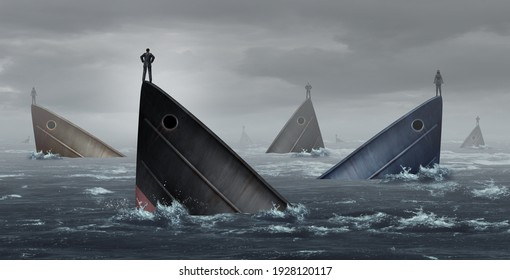 Failing industry business metaphor and failed corporate industries concept as stranded business people lost at sea as an idea for financial crisis in a 3D illustration style.