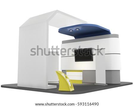 Expo Stands Kioska : Fair exhibition stand kiosk 3 d rendering stock illustration