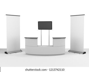 Fair Trade Promo Event Stand, Booth, Kiosk Mock-up. 3D rendering