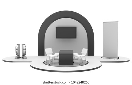 Fair Trade Round Booth. 3D rendering