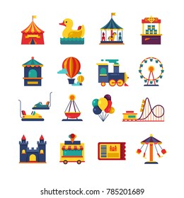 Fairground games and amusement park flat icons. Funfair icons set of ferris wheel and amusement park illustration