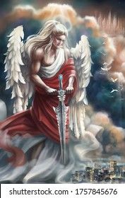 A fair-haired angel in antique clothing and a red robe with a sword in his hands descended from heaven from the upper world and watches people on the planet Earth. guardian angel. Digital illustration