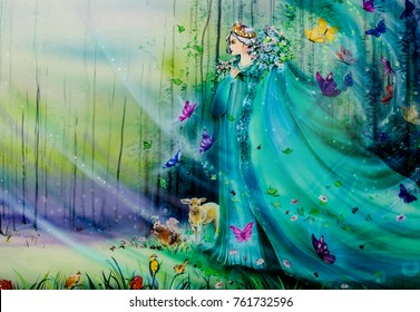 Fairies of fantasy world with lights and ethereal animals. Handmade airbrushing illustration for children's book.