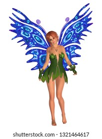 Fairy with blue butterfly wings standing. Isolated on white. 3D rendering.