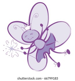 """Fairy Bug Princess with Wand This image also available as vector art. Please search under """"vector only""""."""