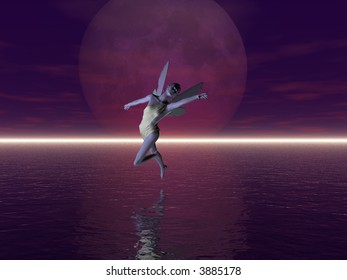Fairy flying above the sea, rendered with Bryce 6