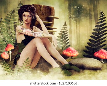 Fairy girl sitting on a colorful meadow with mushrooms, fern leaves and a tree stump. 3D illustration.