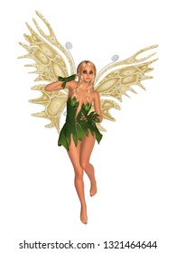 Fairy with golden butterfly wings. Isolated on white. 3D rendering.