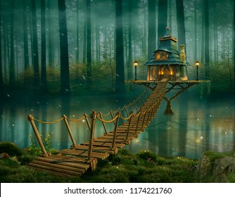 Fairy house on the river and wooden bridge. Photomanipulation. 3D redering.