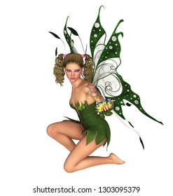 Fairy kneeling and looking at flower. Isolated on white. 3D rendering.