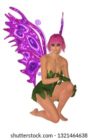 Fairy in kneeling position with purple butterfly wings, isolated on white. 3D rendering.